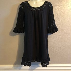 MODA Black/Lace Mini Shift Dress